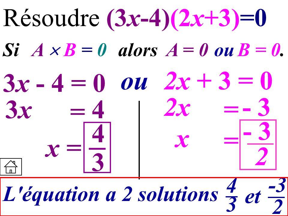 Résoudre (3x-4)(2x+3)=0Si A  B = 0 alors. A = 0. ou. B = 0. ou. 2x + 3 = 0. 3x - 4 = 0. 2x. - 3.