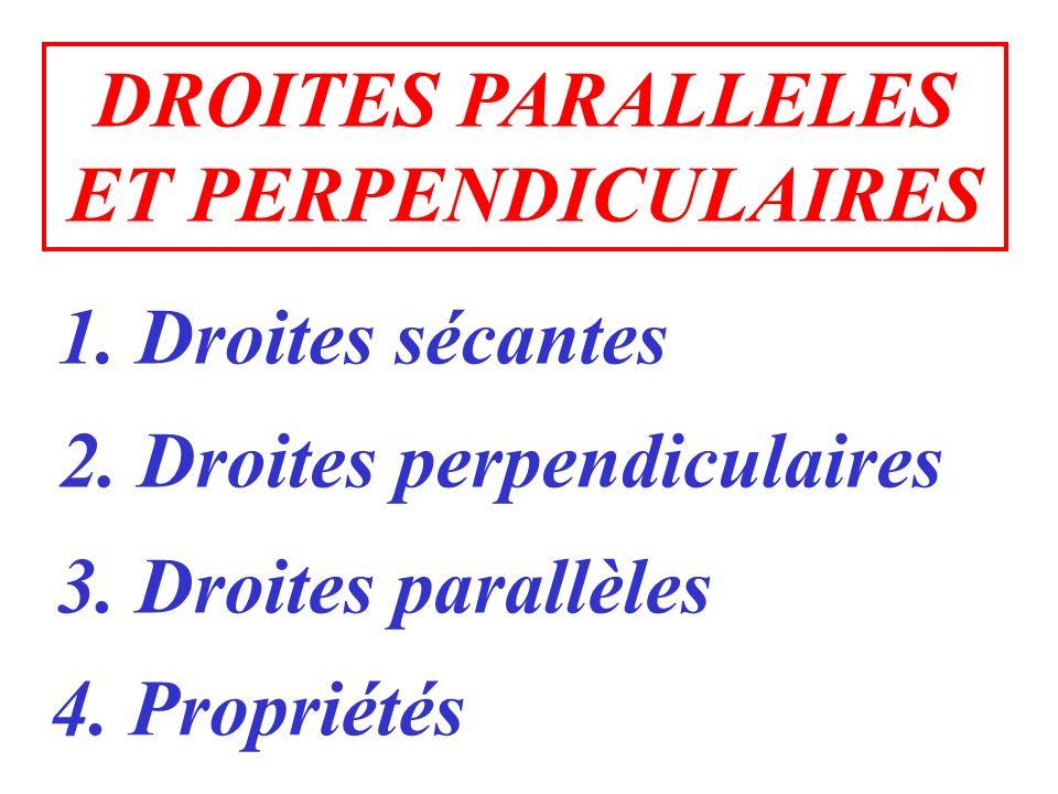 DROITES PARALLELES ET PERPENDICULAIRES. 1. Droites sécantes. 2. Droites perpendiculaires. 3. Droites parallèles.