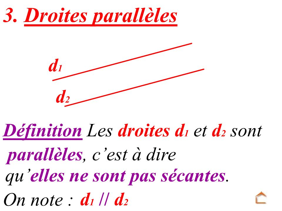 3. Droites parallèles d1 d2 Définition Les droites d1 et d2 sont