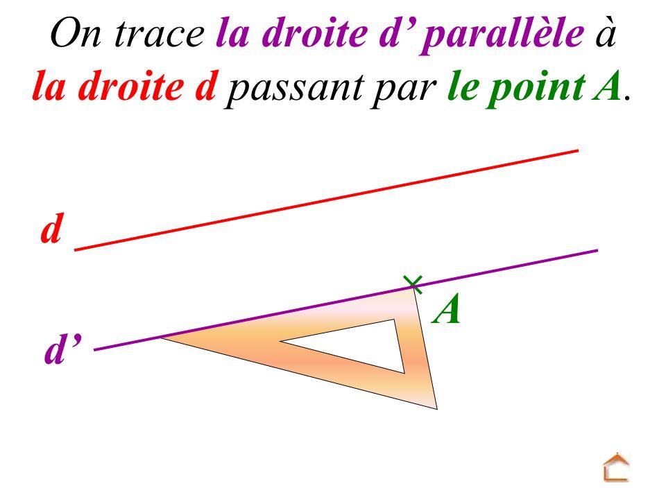 On trace la droite d' parallèle à la droite d passant par le point A.