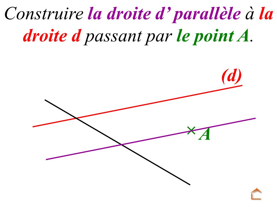 Construire la droite d' parallèle à la droite d passant par le point A.