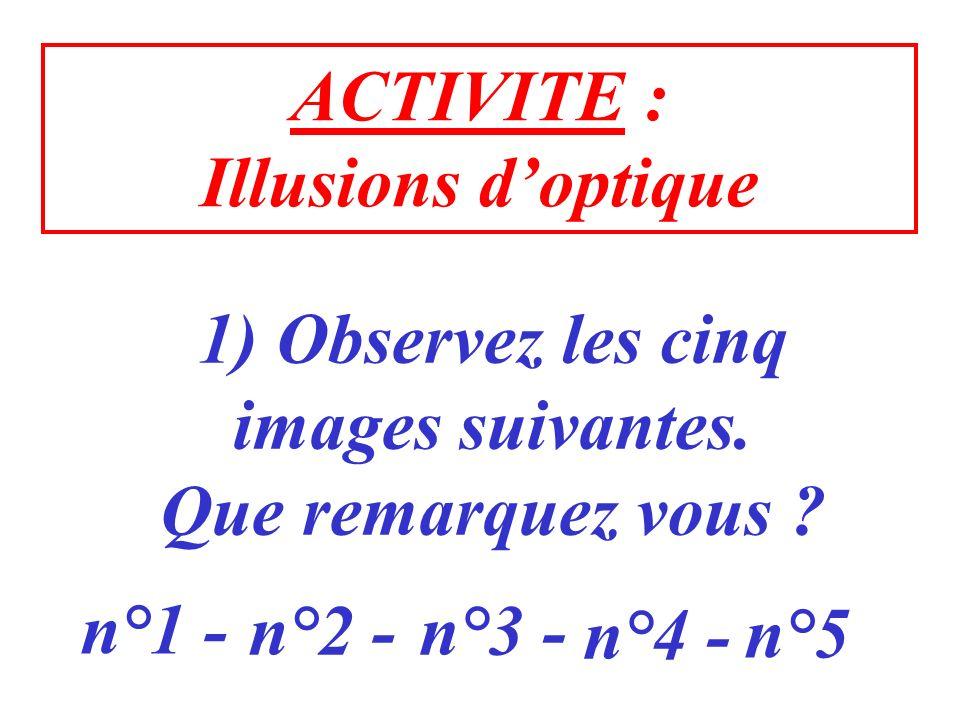 ACTIVITE : Illusions d'optique. 1) Observez les cinq. images suivantes. Que remarquez vous n°1 -