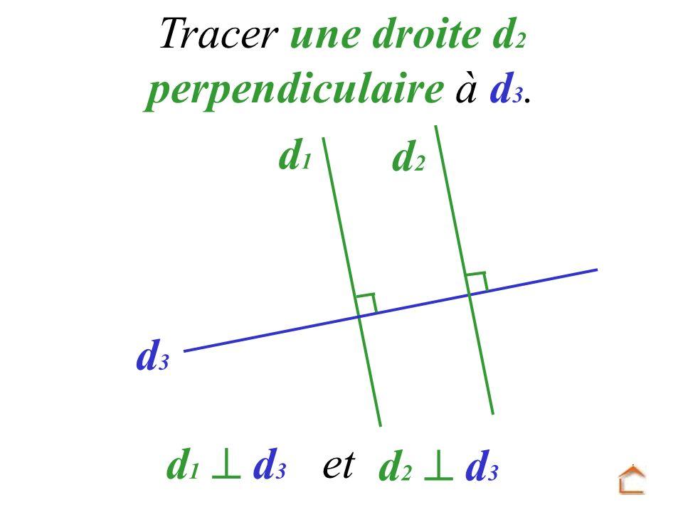 Tracer une droite d2 perpendiculaire à d3.