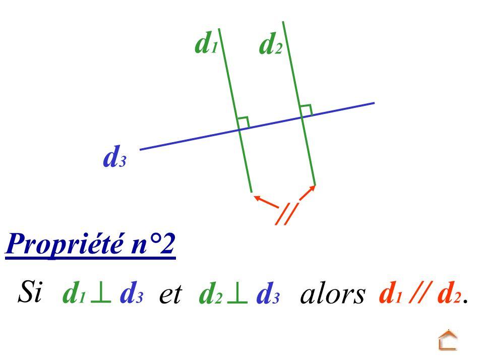 d1 d3 d2 // Propriété n°2 Si d1  d3 et d2  d3 alors d1 // d2.