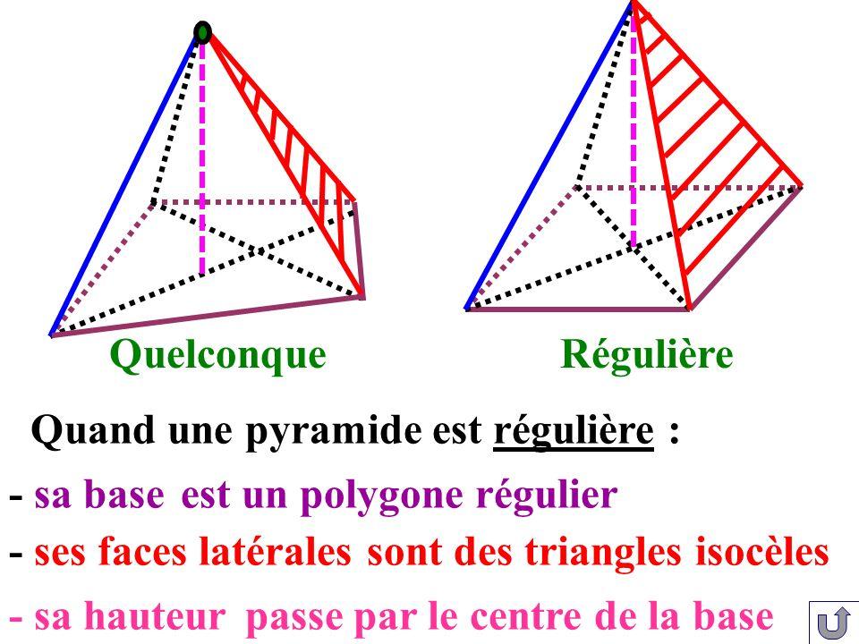 Quand une pyramide est régulière :