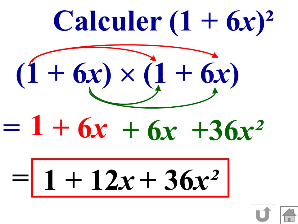 Calculer (1 + 6x)² (1 + 6x)  (1 + 6x) 1 = + 6x + 6x +36x² = 1 + 12x + 36x²