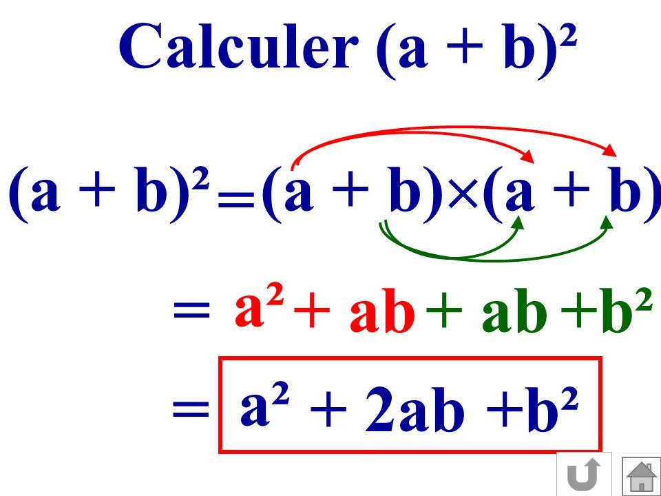 Calculer (a + b)² (a + b)² (a + b)(a + b) = a² = + ab + ab +b² a² = + 2ab +b²
