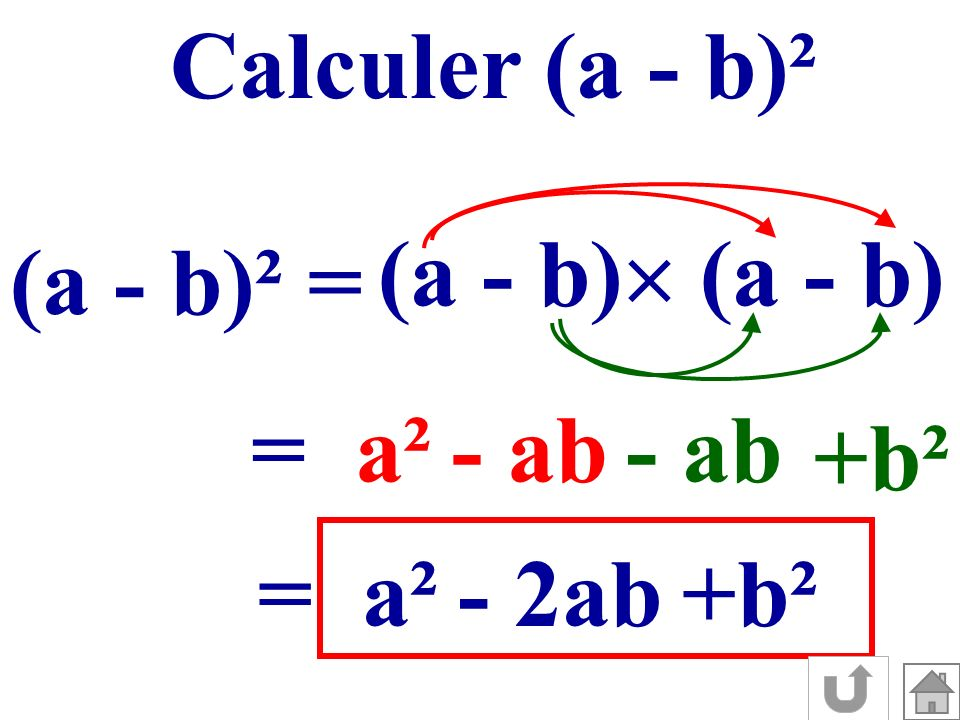 Calculer (a - b)² (a - b) (a - b) (a - b)² = = a² - ab - ab +b² = a² - 2ab +b²