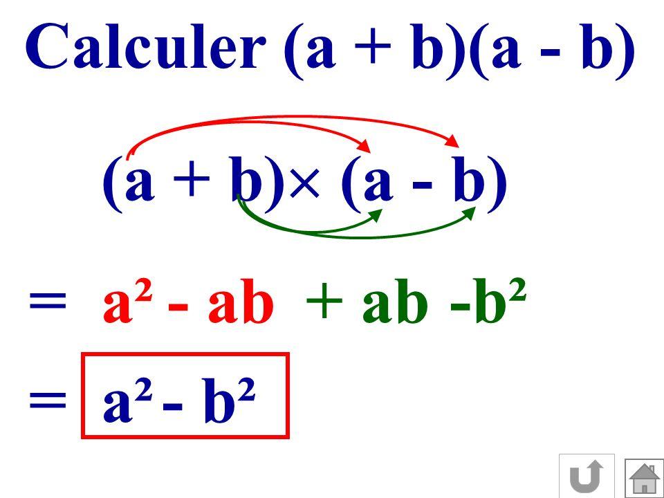 Calculer (a + b)(a - b) (a + b) (a - b) = a² - ab + ab -b² = a² - b²