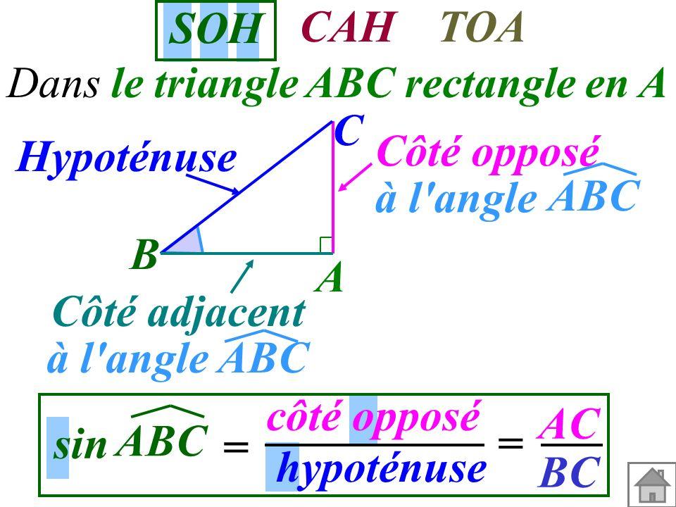 SOH CAH TOA C Hypoténuse Côté opposé à l angle ABC B A Côté adjacent