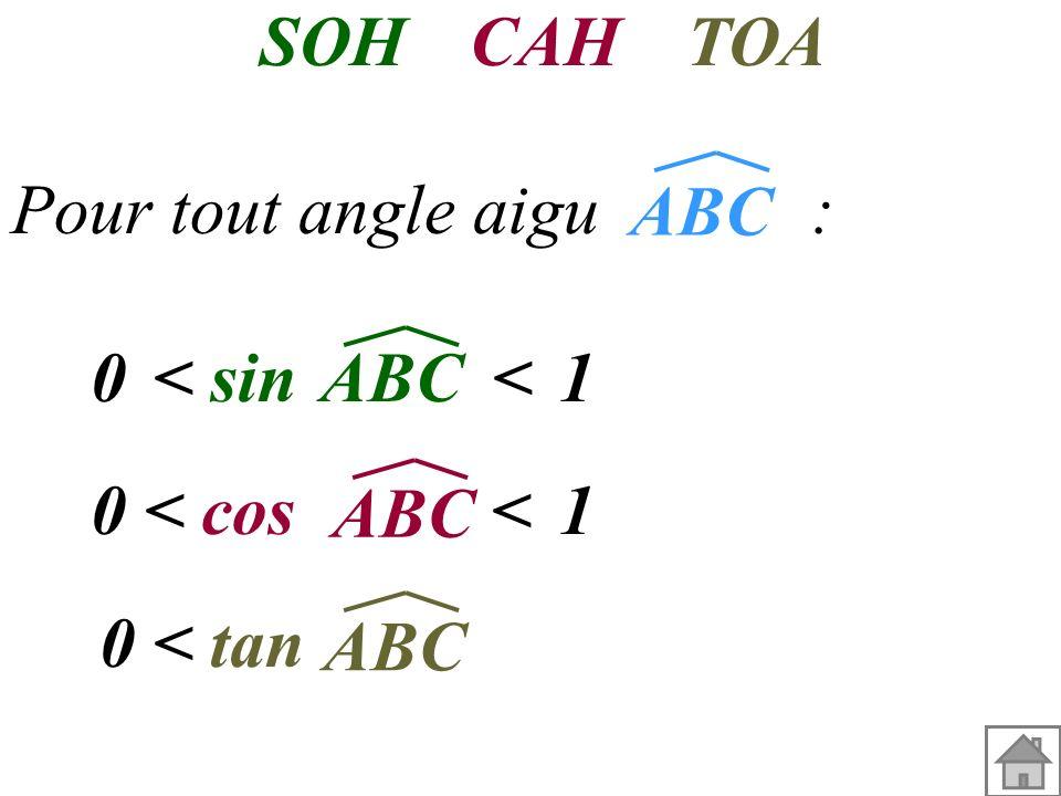 SOH CAH. TOA. Pour tout angle aigu : ABC. 1. < sin < ABC. 1. < cos <