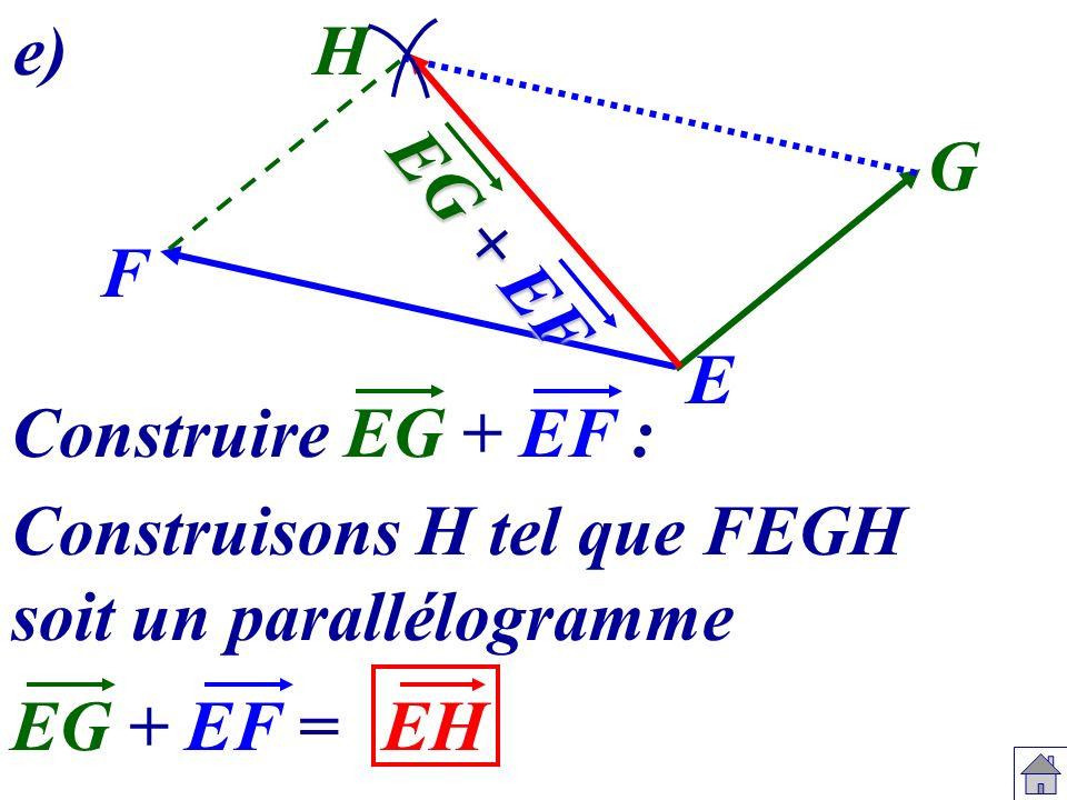 e) H. G. EG + EF. F. E. Construire EG + EF : Construisons H tel que FEGH. soit un parallélogramme.