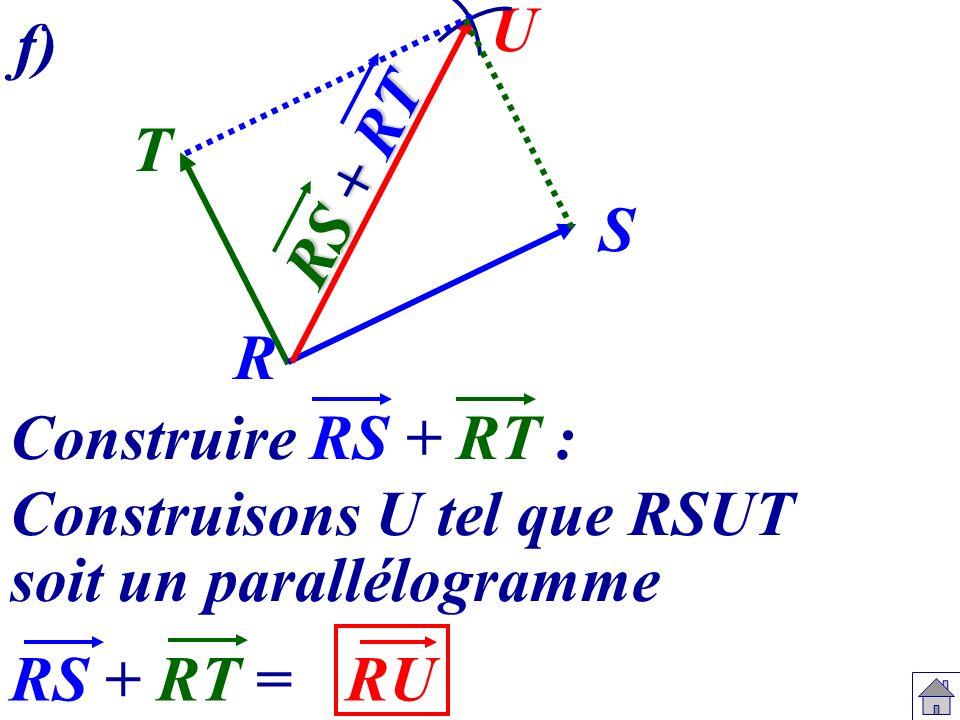 U f) RS + RT. T. S. R. Construire RS + RT : Construisons U tel que RSUT. soit un parallélogramme.
