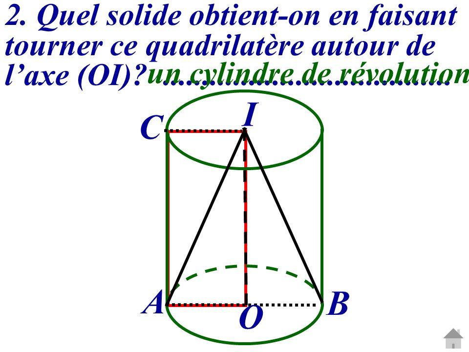 2. Quel solide obtient-on en faisant tourner ce quadrilatère autour de l'axe (OI) .....................................