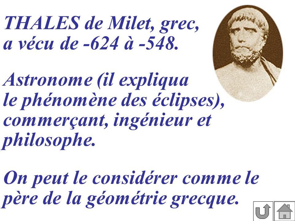 THALES de Milet, grec, a vécu de -624 à -548.