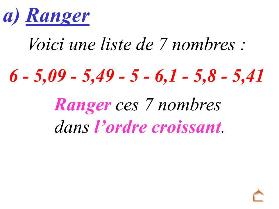 a) Ranger Voici une liste de 7 nombres :