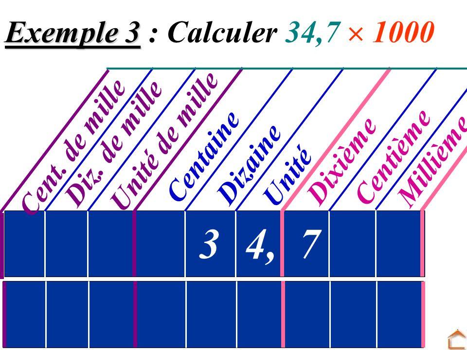 3 4, 7 Exemple 3 : Calculer 34,7  1000 Unité de mille Cent. de mille