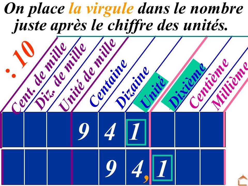 On place la virgule dans le nombre juste après le chiffre des unités.