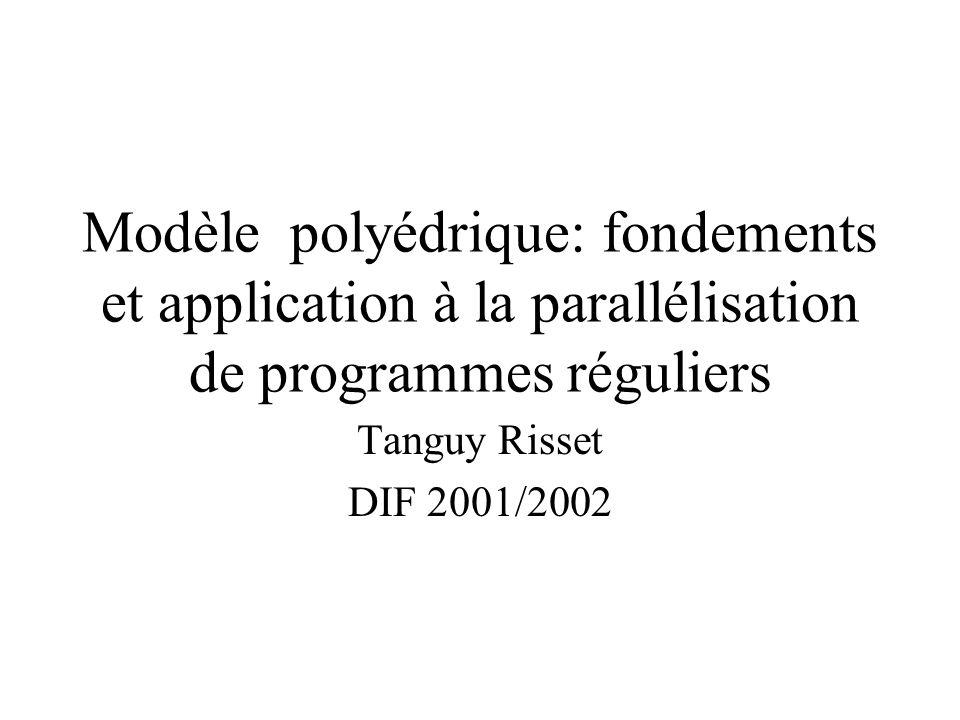 Modèle polyédrique: fondements et application à la parallélisation de programmes réguliers
