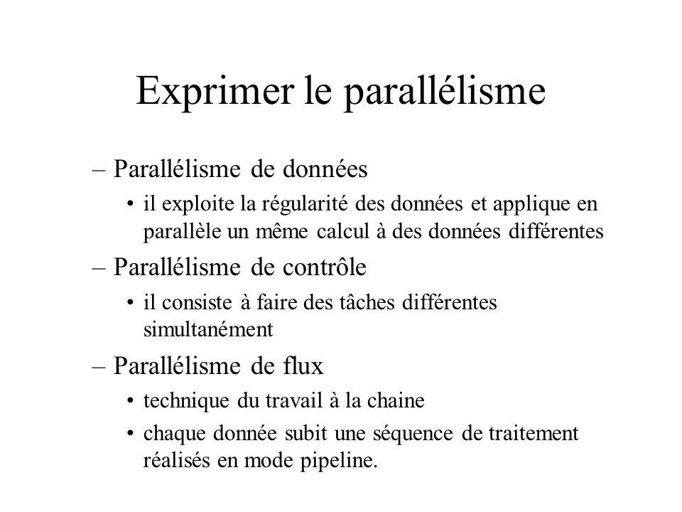 Exprimer le parallélisme