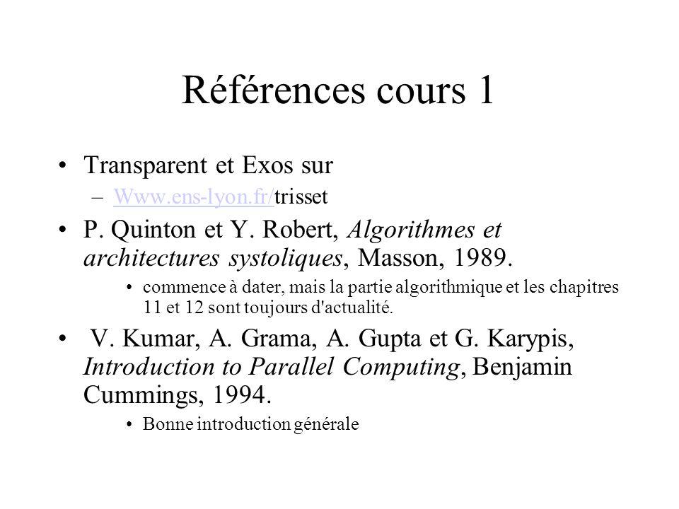 Références cours 1 Transparent et Exos sur