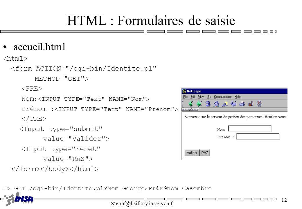 HTML : Formulaires de saisie