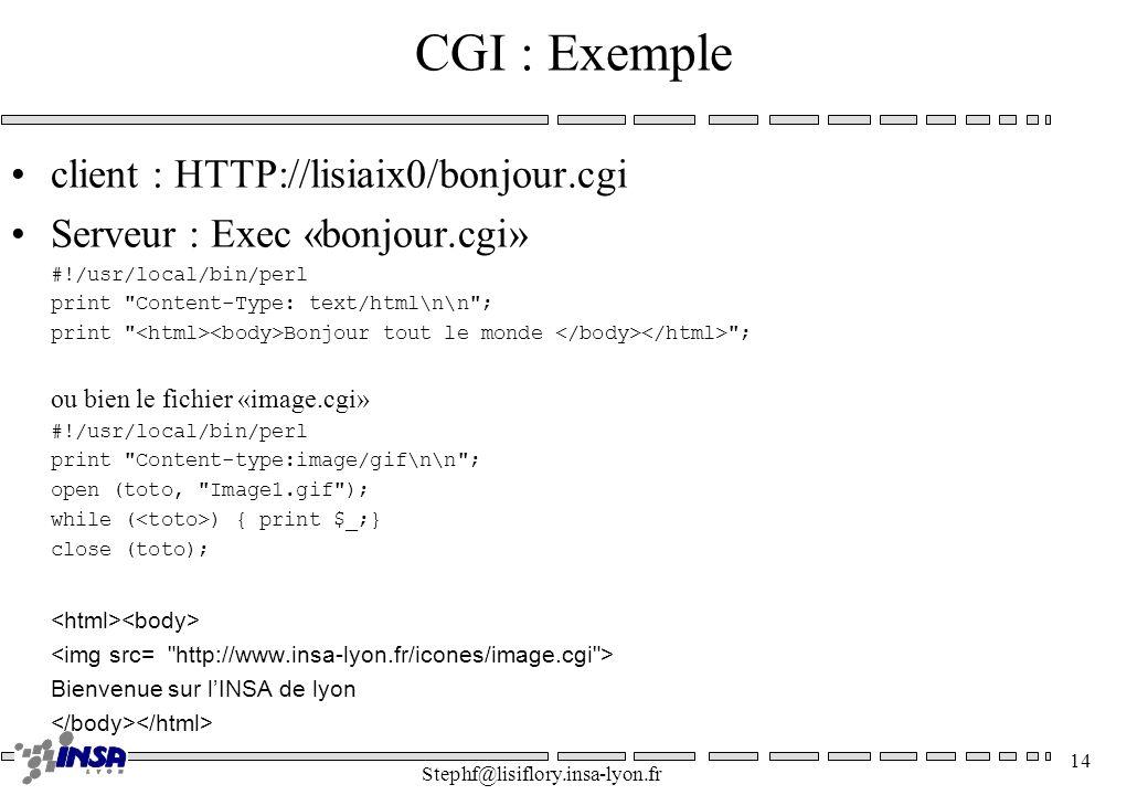 CGI : Exemple client : HTTP://lisiaix0/bonjour.cgi