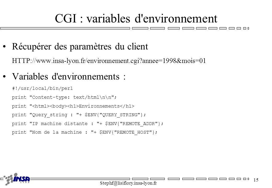 CGI : variables d environnement