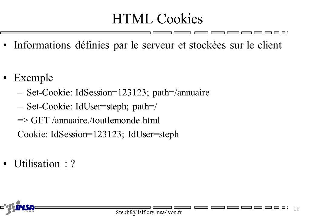 HTML Cookies Informations définies par le serveur et stockées sur le client. Exemple. Set-Cookie: IdSession=123123; path=/annuaire.