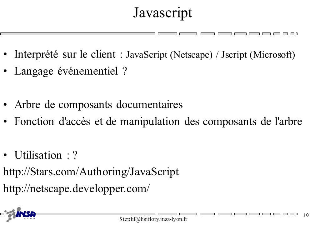 Javascript Interprété sur le client : JavaScript (Netscape) / Jscript (Microsoft) Langage événementiel
