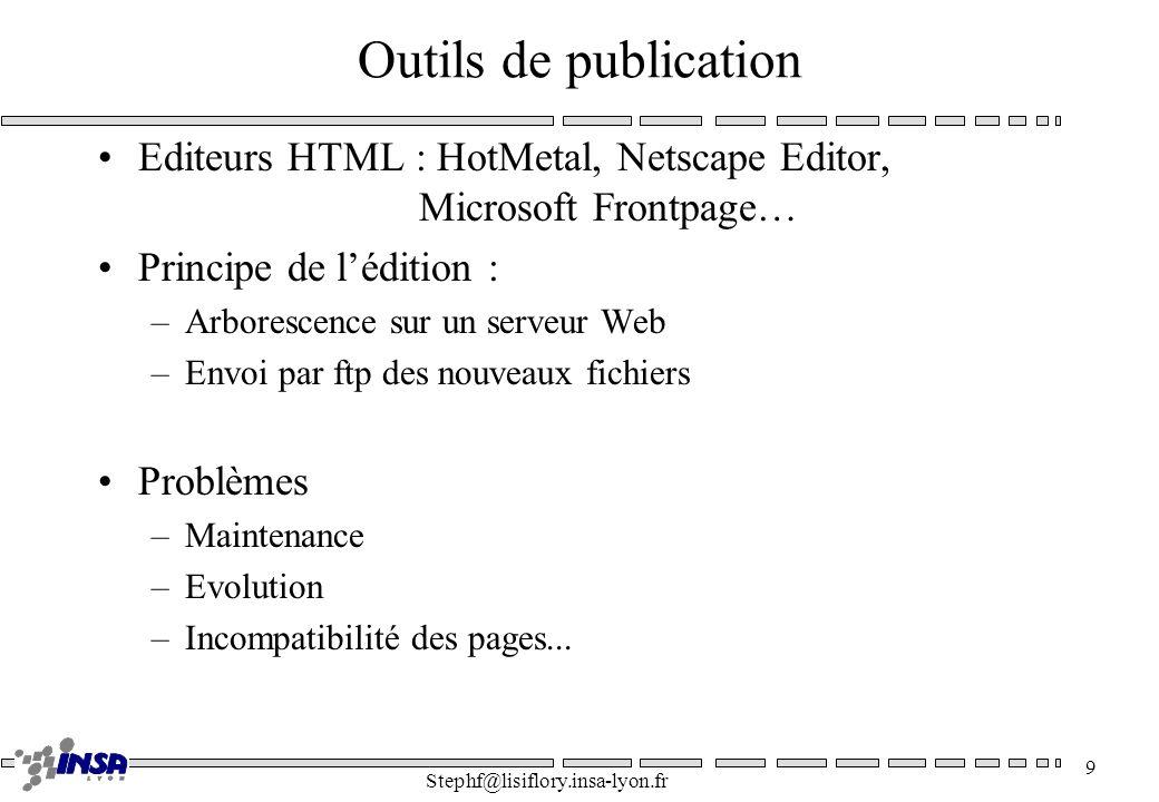 Outils de publication Editeurs HTML : HotMetal, Netscape Editor, Microsoft Frontpage… Principe de l'édition :