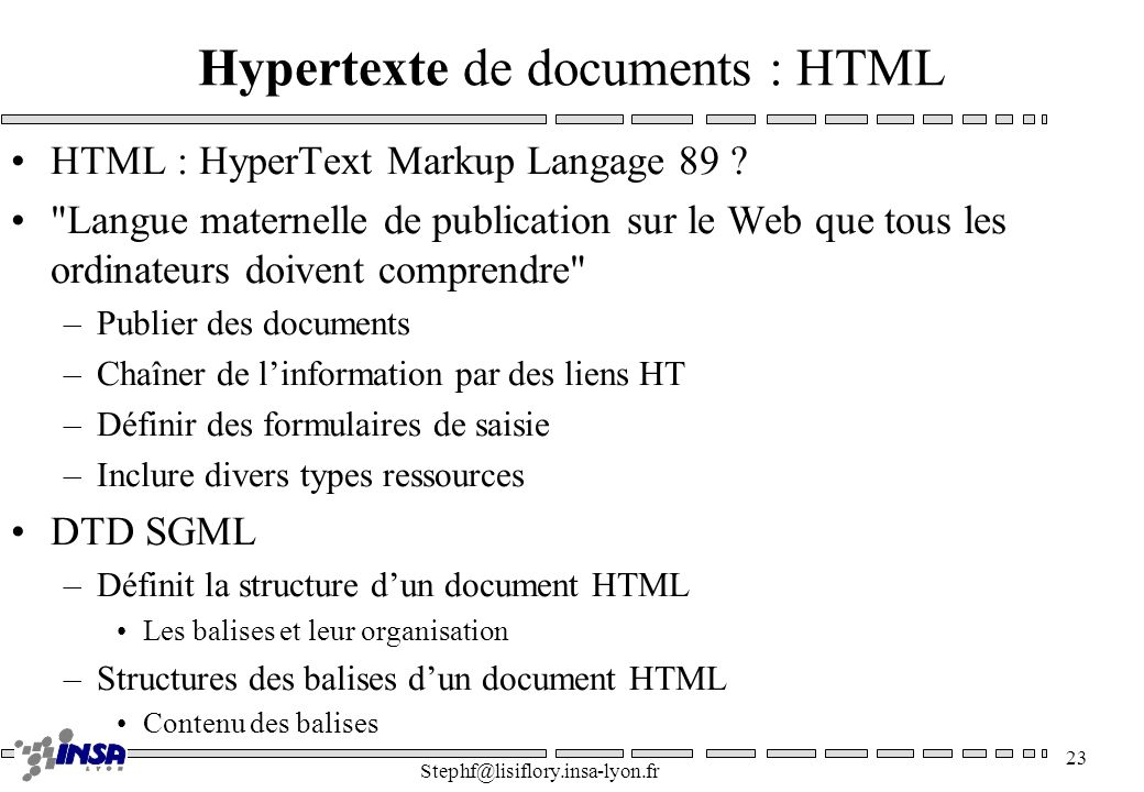 Hypertexte de documents : HTML