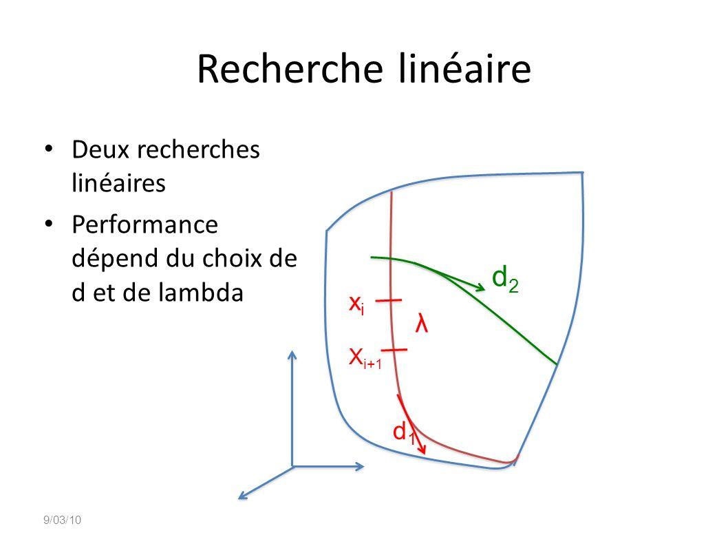 Recherche linéaire λ d2 Deux recherches linéaires