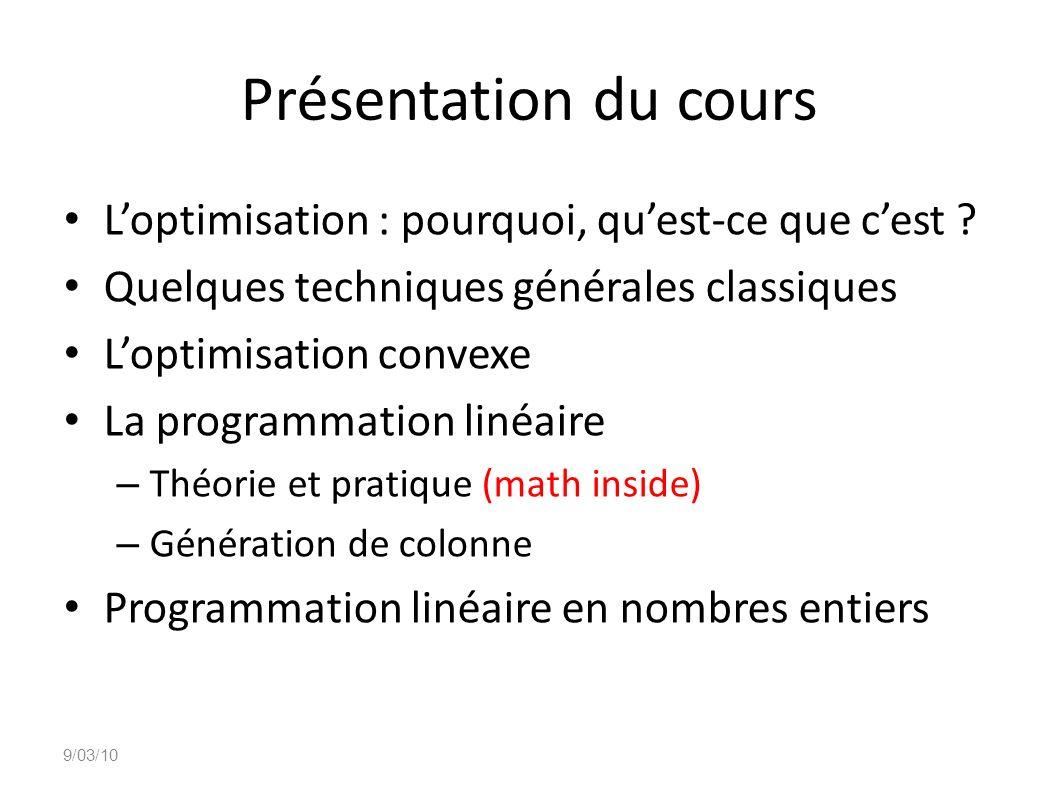 Présentation du cours L'optimisation : pourquoi, qu'est-ce que c'est