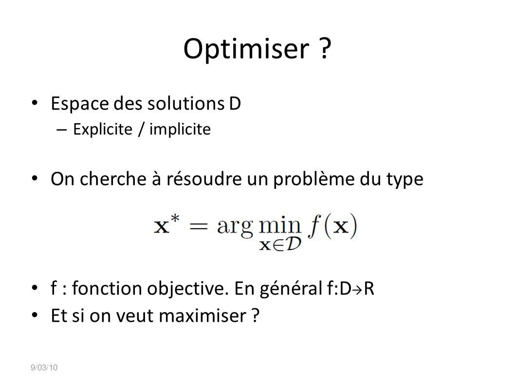 Optimiser Espace des solutions D