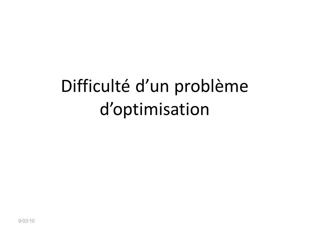 Difficulté d'un problème d'optimisation