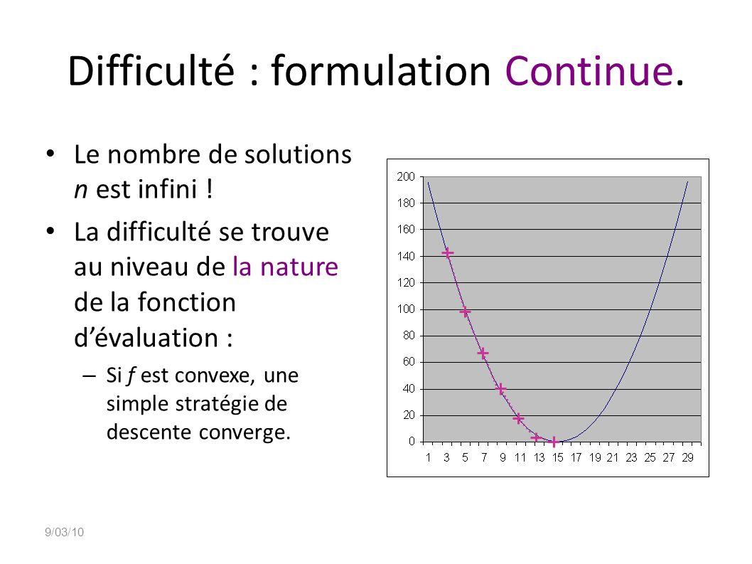 Difficulté : formulation Continue.