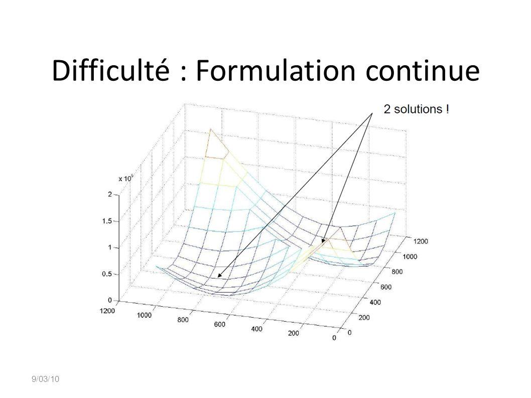 Difficulté : Formulation continue
