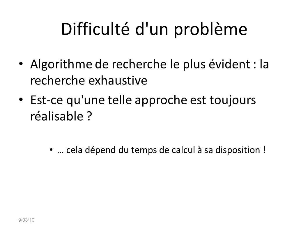 Difficulté d un problème