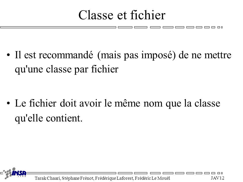 Classe et fichier Il est recommandé (mais pas imposé) de ne mettre qu une classe par fichier.
