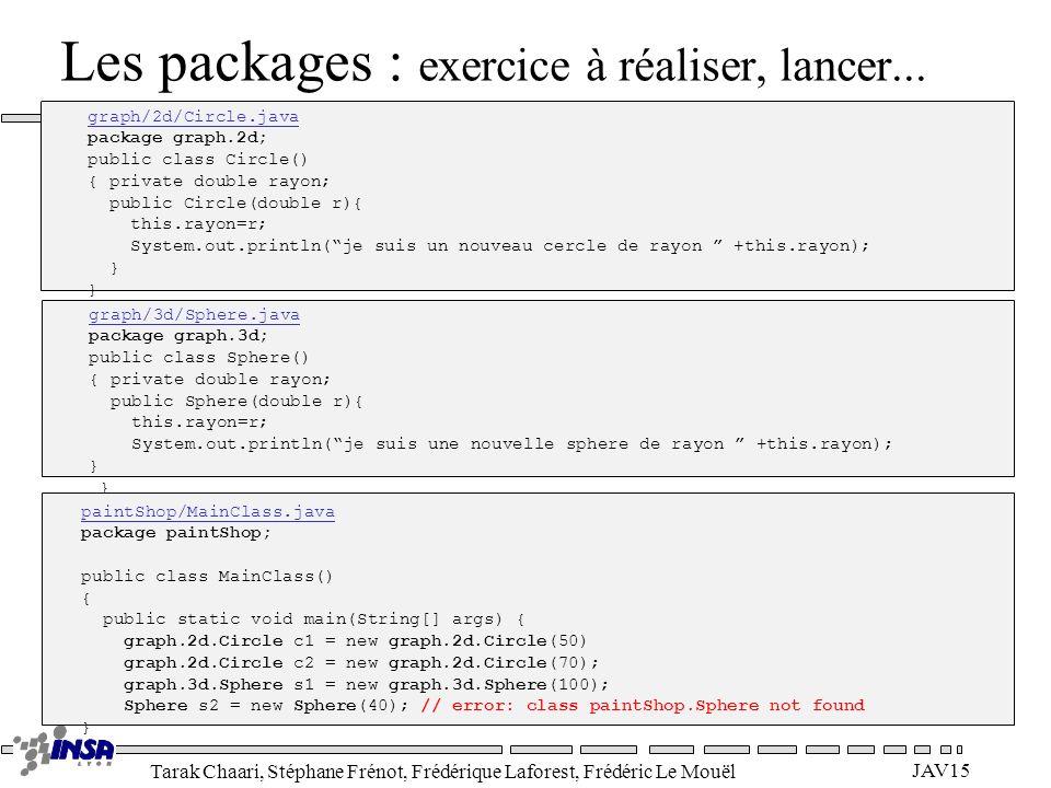 Les packages : exercice à réaliser, lancer...