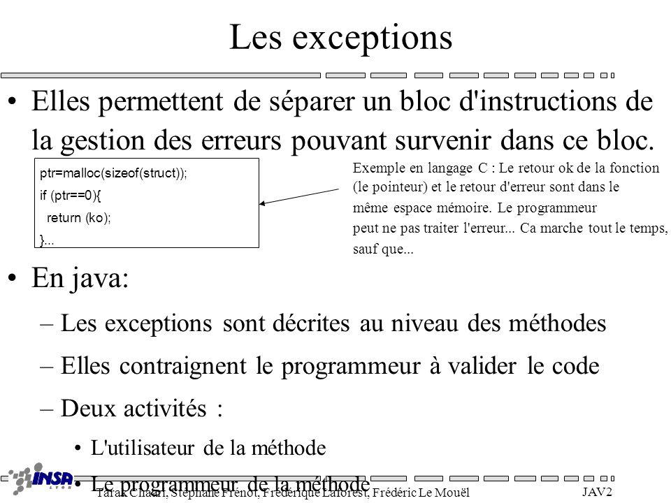 Les exceptions Elles permettent de séparer un bloc d instructions de la gestion des erreurs pouvant survenir dans ce bloc.