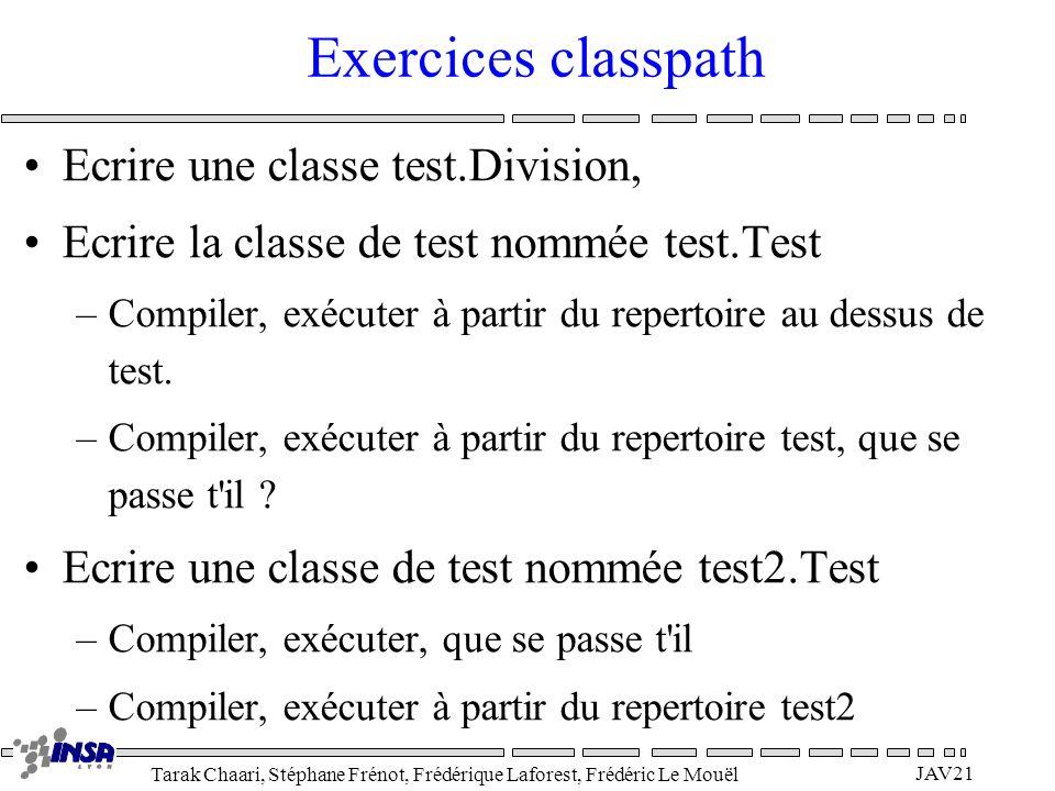 Exercices classpath Ecrire une classe test.Division,