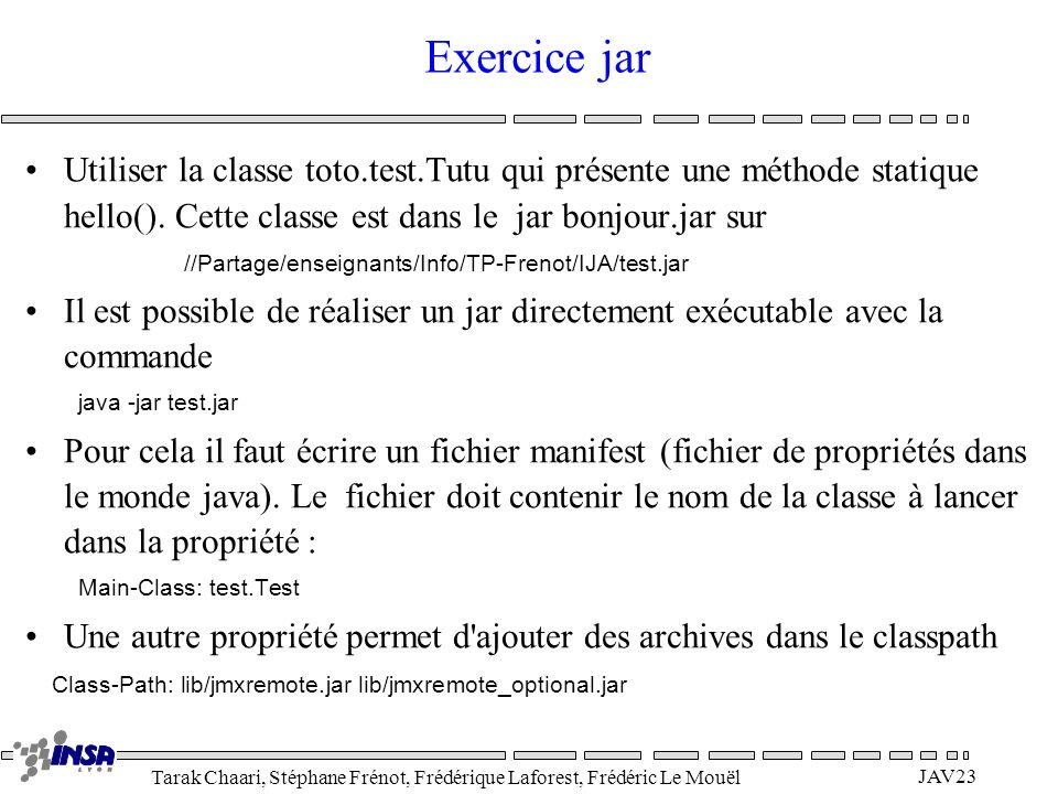 Exercice jar Utiliser la classe toto.test.Tutu qui présente une méthode statique hello(). Cette classe est dans le jar bonjour.jar sur.