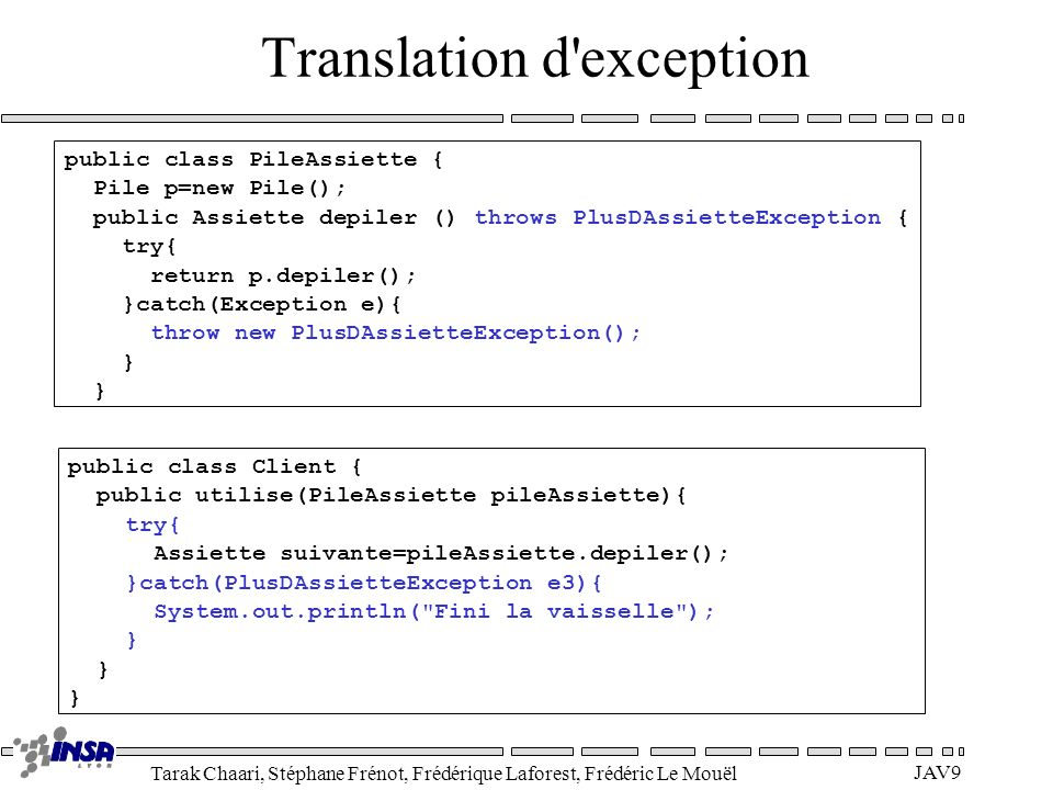 Translation d exception