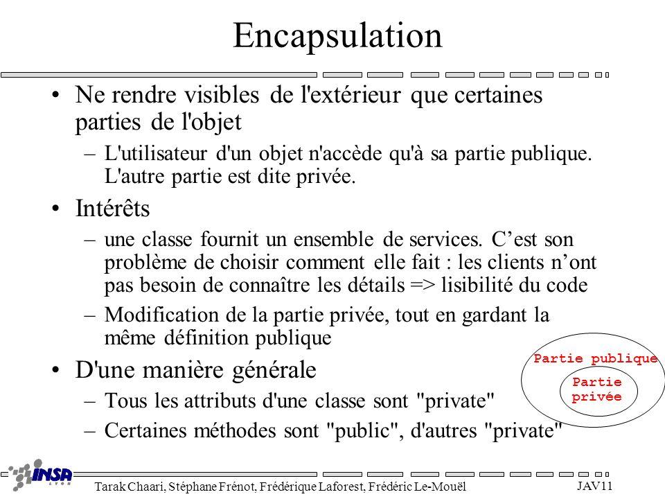 Encapsulation Ne rendre visibles de l extérieur que certaines parties de l objet.