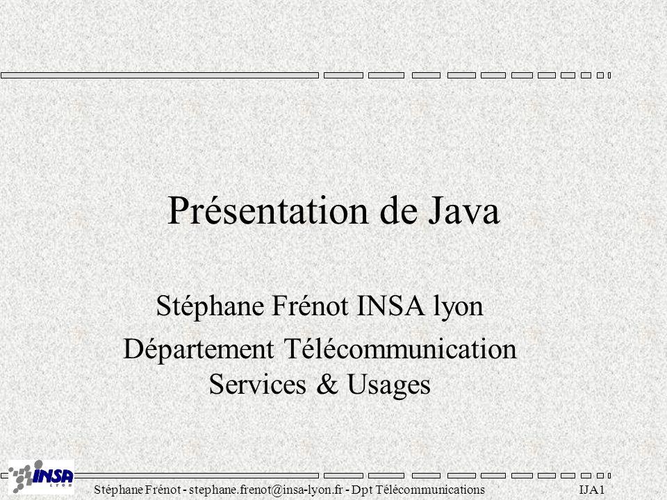Présentation de Java Stéphane Frénot INSA lyon