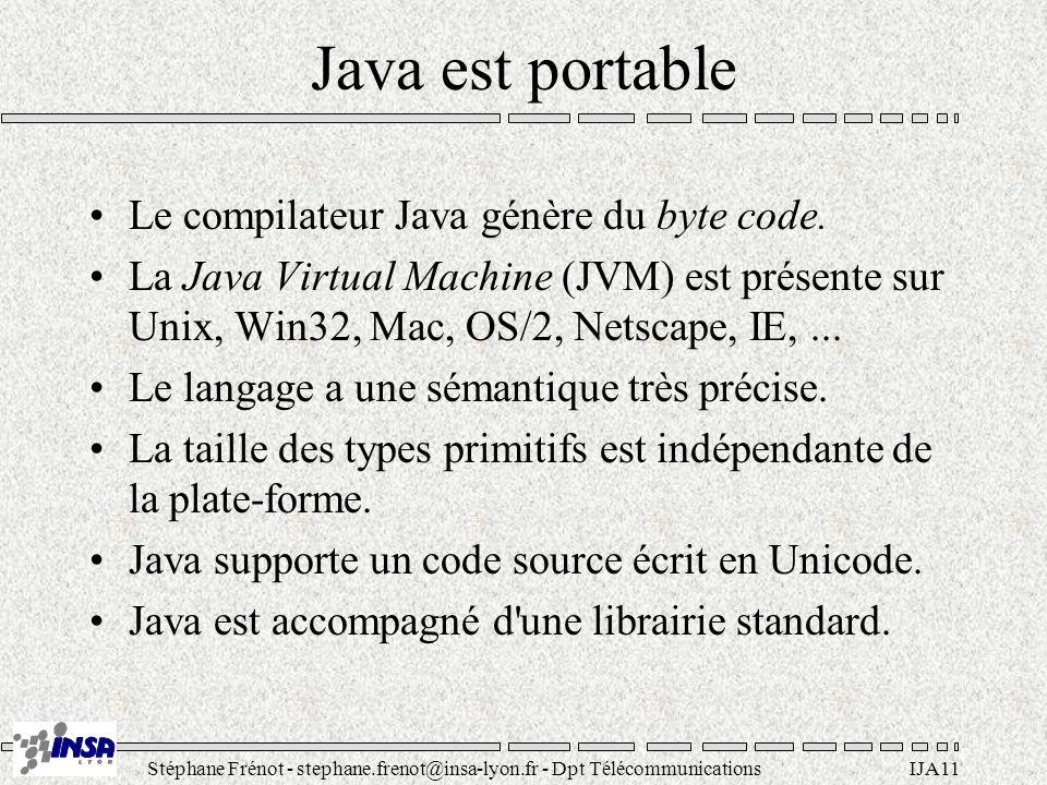 Java est portable Le compilateur Java génère du byte code.