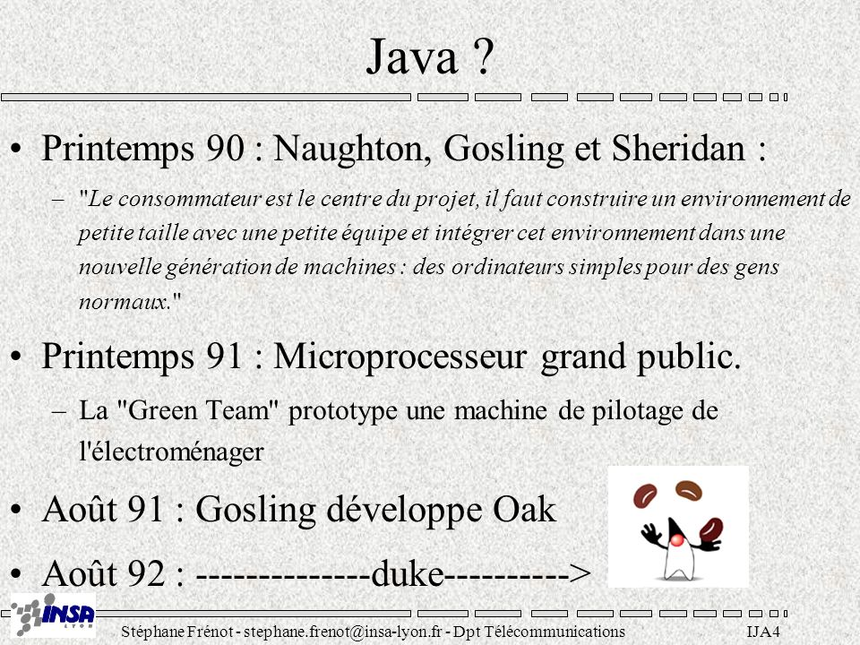 Java Printemps 90 : Naughton, Gosling et Sheridan :