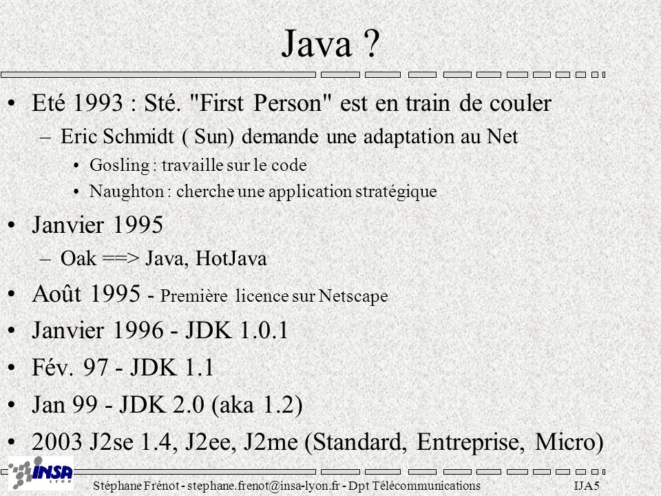 Java Eté 1993 : Sté. First Person est en train de couler